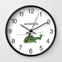Green Vector Helicopter Wall Clock