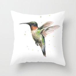 Hummingbird Watercolor Bird Animal Ruby Throated Throw Pillow