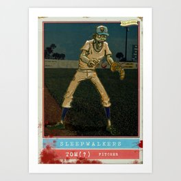 Zombie Baseball Card by michael white Art Print
