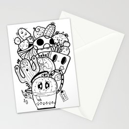 Cactus Love Easy Doodle funny faces Stationery Cards
