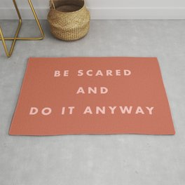 Inspirational Bravery Quote in Terra Cotta Rug