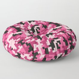Pink and Black Pixel Camo pattern Floor Pillow