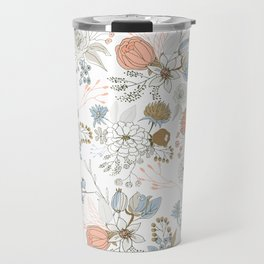 Elegant abstract coral pastel blue modern rustic floral Travel Mug