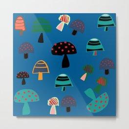 Cute Mushroom Blue Metal Print