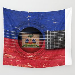 Old Vintage Acoustic Guitar with Haitian Flag Wall Tapestry