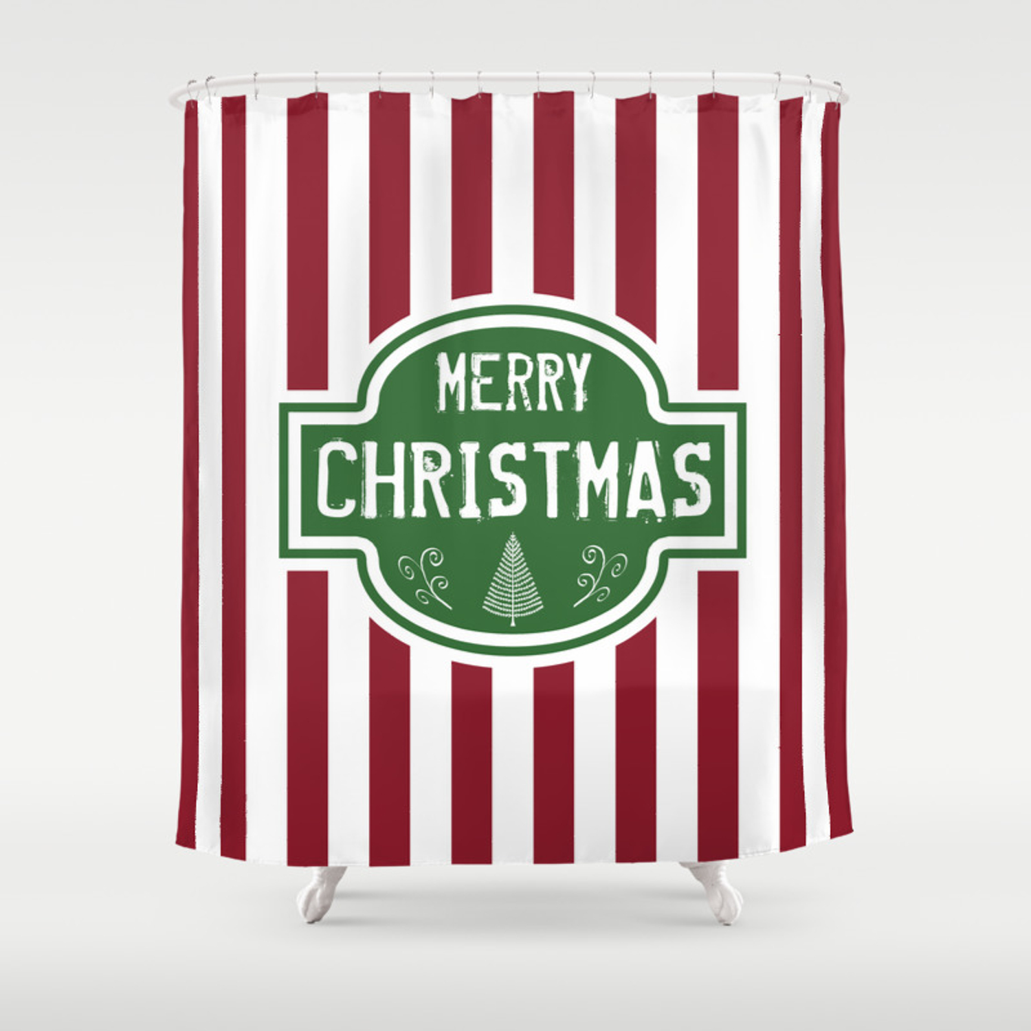 Merry Christmas Red White Stripes Shower Curtain