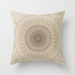 Unique Texture Taupe Burlap Mandala Design Throw Pillow