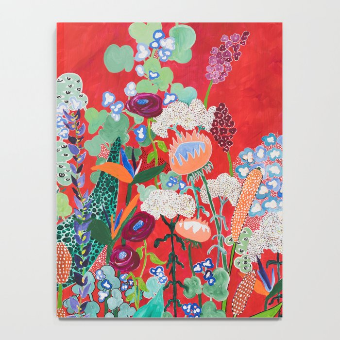 Red floral Jungle Garden Botanical featuring Proteas, Reeds, Eucalyptus, Ferns and Birds of Paradise Notebook