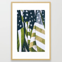 Faded American flags in infra red Framed Art Print
