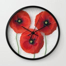 Three red Poppies III Wall Clock