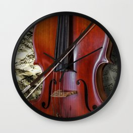Cello with Bow a Stringed Instrument with Classical Sheet Music Wall Clock