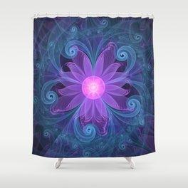Blown Glass Flower of an ElectricBlue Fractal Iris Shower Curtain