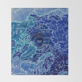 North Pole Neon Map Throw Blanket