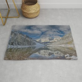 Maroon Bells Reflection In The Maroon Lake With Fresh Snow Aspen Colorado Usa for #society6 Rug