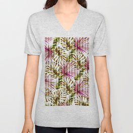 Tropical pink purple sunshine yellow palm tree stripes Unisex V-Neck