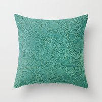 leather Throw Pillows featuring teal leather by Sylvia Cook Photography