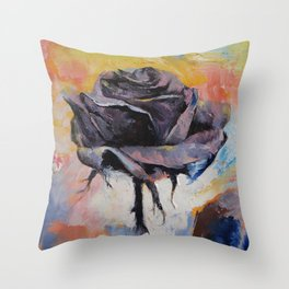 Black Rose Throw Pillow