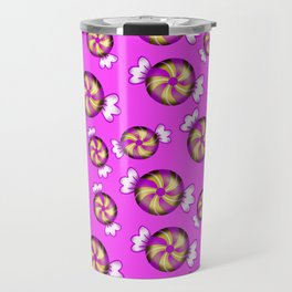 Cute lovely sweet decorative Christmas caramel chocolate candy in shiny wrappers pattern Travel Mug
