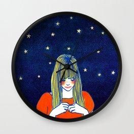 Girls in blue Wall Clock