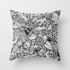 Detailed rectangle, black and white  Throw Pillow