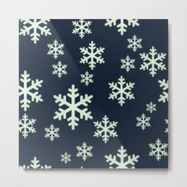 White Snowflakes w/Dark Blue Background Metal Print