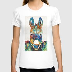 Colorful Donkey Art - Mr. Personality - By Sharon Cummings MEDIUM White Womens Fitted Tee