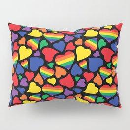 Retro Rainbow LGBT Pride Hearts Pillow Sham