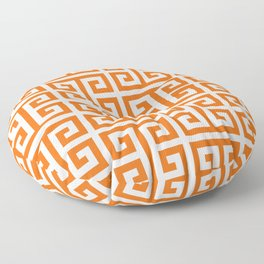 Orange and White Greek Key Pattern Floor Pillow