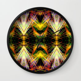 Yellow Bright Rays Fractal Art Wall Clock