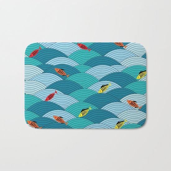 wave and fish Bath Mat