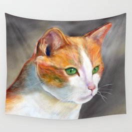 Young ginger and white cat (a343) Wall Tapestry