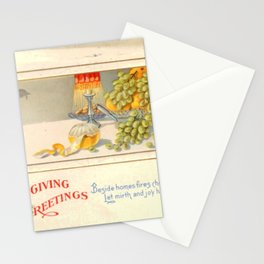 Thanksgiving postcards 161 Table  Grapes  Apple  Beside homes fires cheerful glow let mirth and joy... Stationery Cards