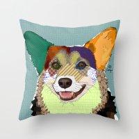 corgi Throw Pillows featuring Corgi by TiannaHarman