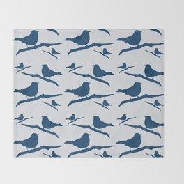 Blue Silhouette Bird Throw Blanket