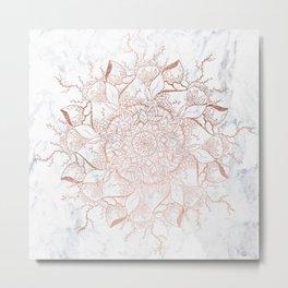 Modern rose gold floral terrarium mandala white marble Metal Print