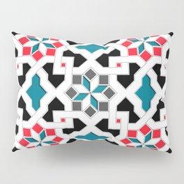 Oriental Pattern - Geometric Design, red / blue / grey Pillow Sham