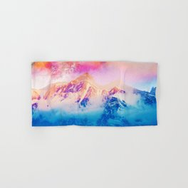 Another Dream, Photography Digital Collage, Nature Landscape Snow Mountain Travel Graphic Design Hand & Bath Towel