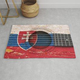 Old Vintage Acoustic Guitar with Slovakian Flag Rug
