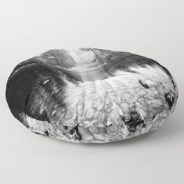 Forest Reflection Lake - Black and White  - Nature Photography Floor Pillow