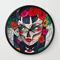 mexican Wall Clocks featuring Mexican SK by LucreziaU's Illustration