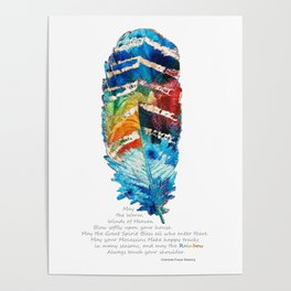 Colorful Feather Art -  Blessing - By Sharon Cummings Poster