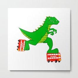dinosaur riding roller skates. Metal Print