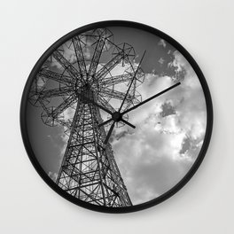 Coney Island Parachute Jump. Black and white photography Wall Clock