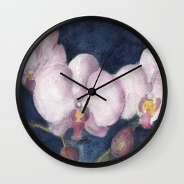 Orchids In the Evening Wall Clock