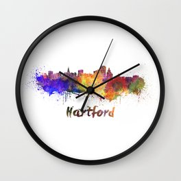 Hartford skyline in watercolor Wall Clock