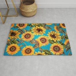 Vintage & Shabby Chic - Sunflowers on Turqoise Rug