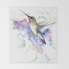Hummingbird and Soft Purple Flowers Throw Blanket