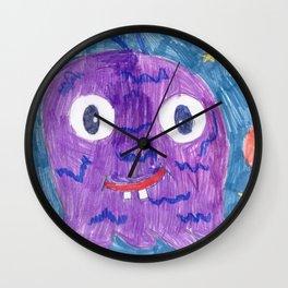 Purple Alien Wall Clock