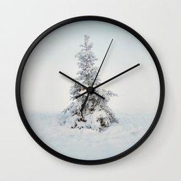 Frosty tree on a foggy day Wall Clock