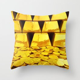 Gold investment Throw Pillow
